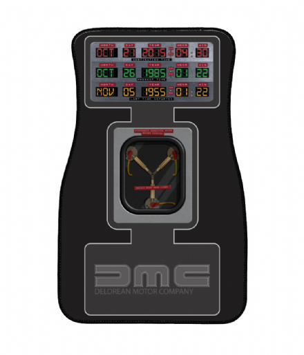 DMC Delorean Flux & Time Clock Design Back to the Future Front Driver / Passenger Car mat